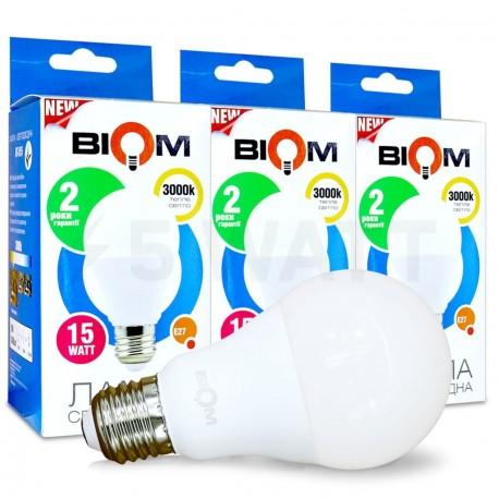 Набор LED ламп BIOM A65 15W 3000K E27 (по 3 шт.)