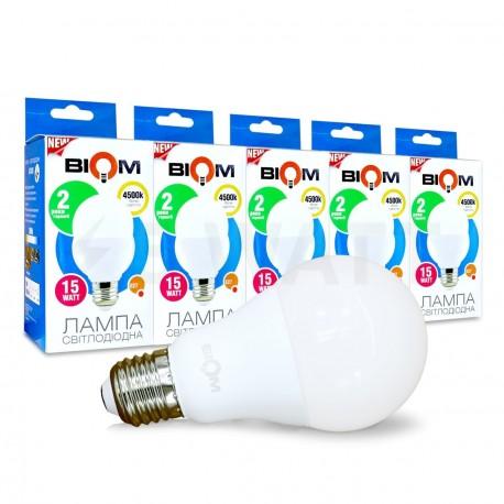 Набор LED ламп BIOM A65 15W 4500K E27 (по 5 шт.) - купить
