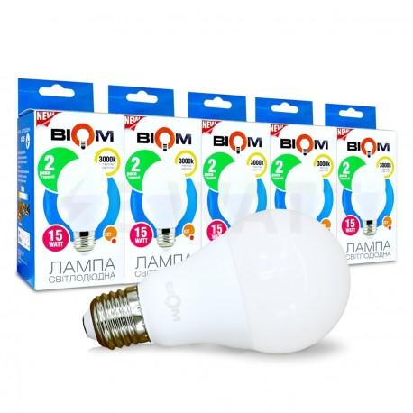 Комплект LED ламп BIOM A65 15W 3000K E27 (по 5 шт.) - придбати