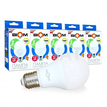 Набор LED ламп BIOM A60 12W 4500K E27 (по 5 шт.) - купить