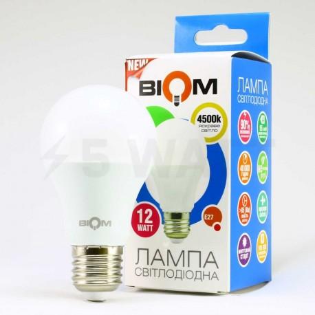 Набор LED ламп BIOM A60 12W 4500K E27 (по 5 шт.) - в Украине