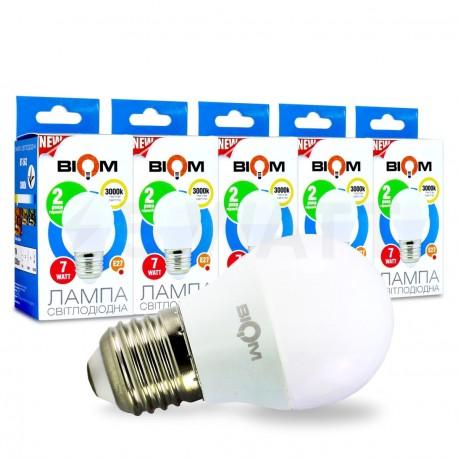 Набор LED ламп BIOM G45 7W 3000K E27 (по 5 шт.) - купить