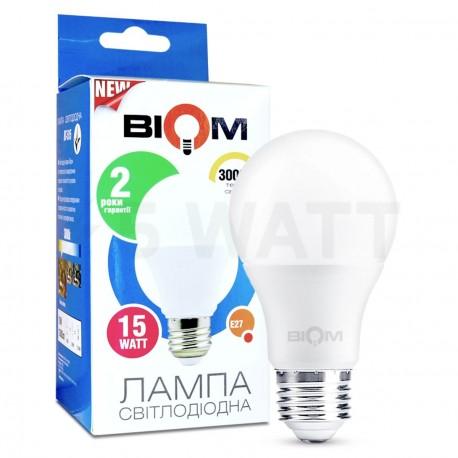 Светодиодная лампа Biom BT-515 A65 15W E27 3000К матовая - купить