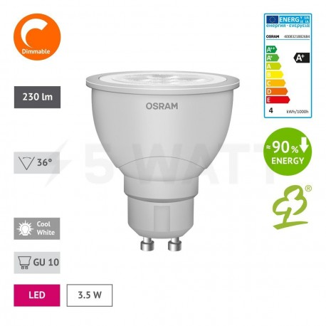LED лампа OSRAM LED Super Star GU10 3,6W 4000K DIM (4008321882684) - в интернет-магазине