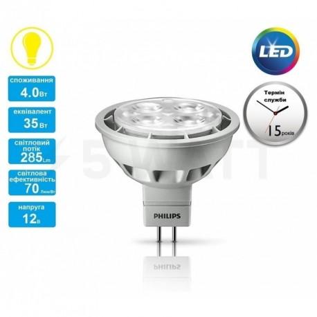 LED лампа PHILIPS Essential LED MR16 4-35W GU5.3 2700K 12V 24D (929001147307) - недорого