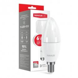 LED лампа MAXUS C37 6W 3000К 220V E14 (1-LED-533-01)