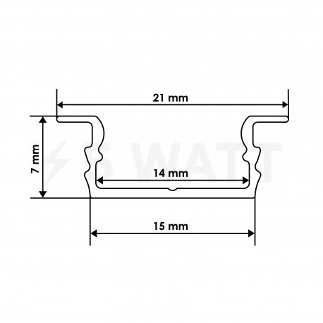 Профіль алюмінієвий LED BIOM врізний ЛПВ7 7х16, анодований (палка 2м), м - в інтернет-магазині