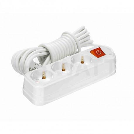 Удлинитель с заземлением и кнопкой Profitec 3гн. 3м., белый (PRFGRP 1010300203) - купить