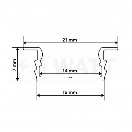 Профиль алюминиевый LED BIOM врезной ЛПВ7 7х16, неанодированный (палка 2м), м - в интернет-магазине