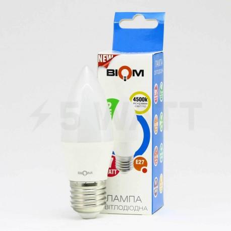 Светодиодная лампа Biom BB-409 C37 7W E27 3000К матовая - в Украине