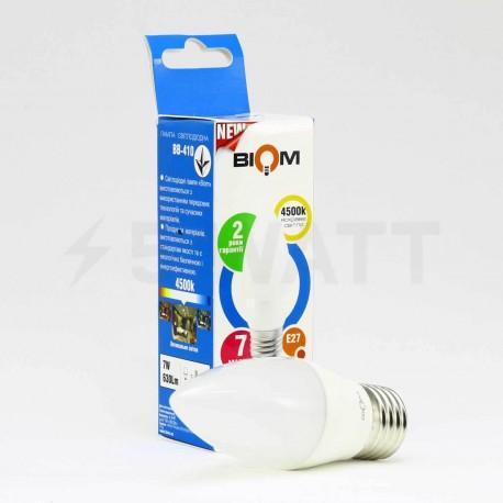 Светодиодная лампа Biom BB-409 C37 7W E27 3000К матовая - в интернет-магазине