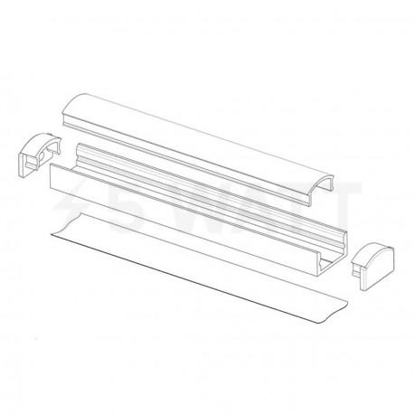 Профіль алюмінієвий LED DX7 7х16 (комплект профіль+лінза+заглушка 4шт.), 1м - в інтернет-магазині