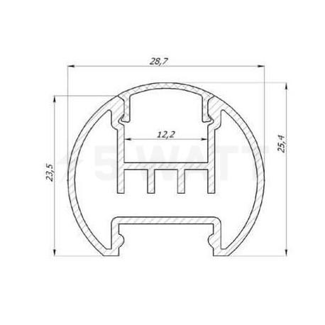 Профіль алюмінієвий анодований LED круглий LCK - в інтернет-магазині