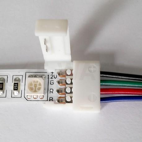 Коннектор для светодиодных лент OEM №9 10mm RGB 2joints wire (провод-2 зажима) - в Украине