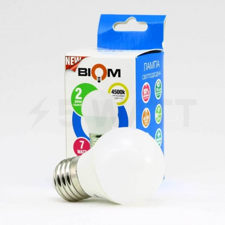 Світлодіодна лампа Biom BB-405 G45 7W E27 3000К матова - в інтернет-магазині