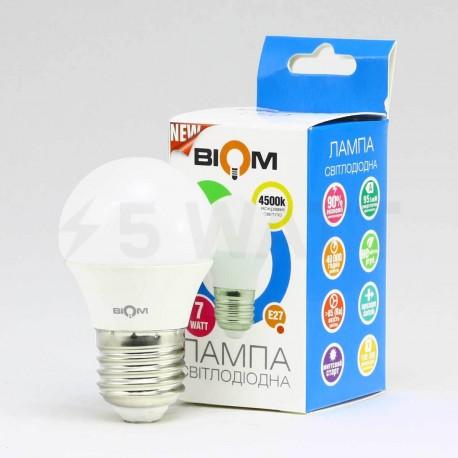 Светодиодная лампа Biom BB-406 G45 7W E27 4200К матовая - магазин светодиодной LED продукции