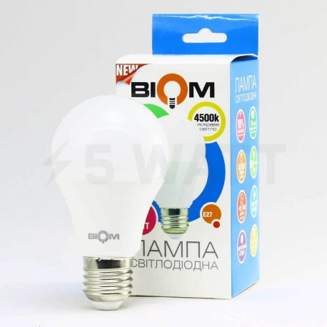 Светодиодная лампа Biom BB-419 A60 9W E27 3000К матовая - в интернет-магазине