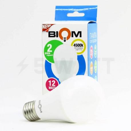 Світлодіодна лампа Biom BB-422 A60 12W E27 4200К матова - магазин світлодіодної LED продукції