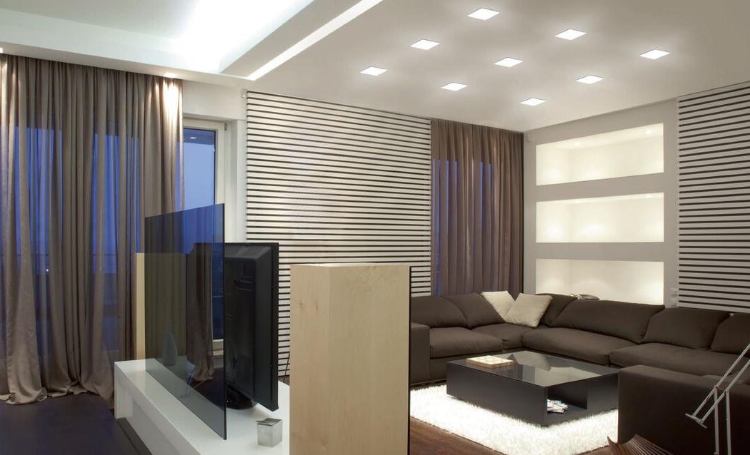 Встраиваемые светильники в гостиной